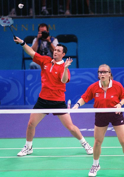 Canada's Milaine Cloutier and Bryan Moody compete in the mixed doubles badminton at the 2000 Sydney Olympic Games. (CP Photo/ COA)