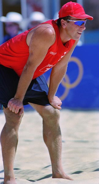 Canada's John Child  during a beach volleyball tournament  at the Sydney 2000 Olympic Games. (CP PHOTO/ COA)