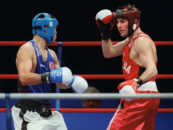 Canada's Mike Strange competes in the boxing portion of the 2000 Sydney Olympic Games. (CP Photo/ COA)