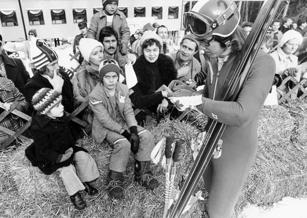 Canada's Dave Irwin signs autographs during  the alpine ski event at the 1976 Winter Olympics in Innsbruck. (CP Photo/ COA)