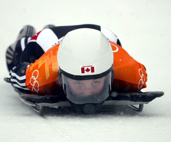 Canadian women's skeleton rider Lindsay Alcock as she slides down the track at the 2002 Olympic Winter Games in Salt Lake City. (CP Photo/COA/Andre Forget).