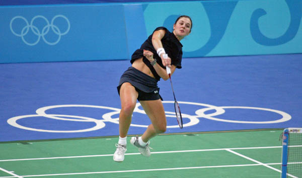 Anna Rice of Vancouver returns a shot during badminton training for the summer Olympics in Athens, Greece on Tuesday Aug. 10, 2004. (CP PHOTO/COC-Mike Ridewood)