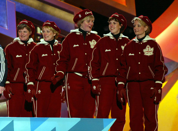 Canadian women's curling team (from left to right) Cheryl Noble, Diane Nelson, Georgina Wheatcroft, Julie Skinner and Skip Kelly Law. Winners of a bronze medal at the 2002 Olympic Winter Games in Salt Lake City. (CP PHOTO/COA/Andr� Forget).