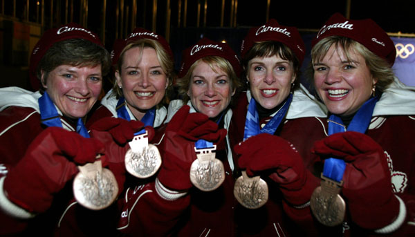 Canadian women's curling team (from left to right): Cheryl Noble, Kelly Law, Diane Nelson, Julie Skinner and Georgina Wheatcroft. Winners of a bronze medal at the 2002 Olympic Winter Games in Salt Lake City. (CP PHOTO/COA/Andr� Forget).