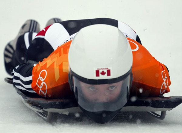 Canadian women's Skeleton rider Lindsay Alcock of Calgary slides down the track during competition Wednesday Feb. 20, at the 2002 Olympic Winter Games in Salt Lake City. (CP Photo/COA/Andre Forget).