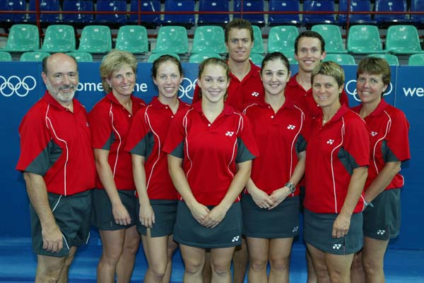 Canada's 2004 badminton team at the Olympic Games in Athens.  Top (left to right): Philippe Bourret and Mike Beres.  Front (left to right): Jean-Paul Girard (coach), Charmaine Reid, Jody Patrick, Helen Nichol, Anna Rice, Denyse Julien, and Martha Deacon (team leader).(CP PHOTO)2004(COC-Mike Ridewood)