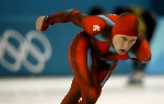 Team Canada's long track speed skater Steven Elm after his 5,000 metre at the 2002 Olympic Winter Games in Salt Lake City. (CP Photo/COA/Andre Forget).