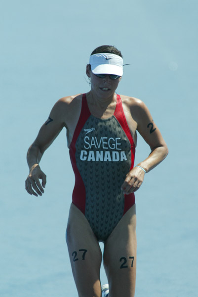 Canada's Jill Savege of Penticton, B.C. finished 39th in women's triathlon at the Olympic Games in Athens on Wednesday, August 25, 2004.(CP PHOTO/COC-Mike Ridewood)