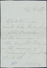 Invitation to the Sniders's daughter's wedding. July 29, 1881