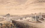 Watercolour of the Union Suspension Bridge over the Ottawa River, 1844