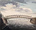 Watercolour of the wooden bridge over the Ottawa River at the Chaudière Falls, by John Burrows, 1828