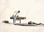 Watercolour sketch of a Black woodcutter sawing a log while wearing a LIBERTY CAP