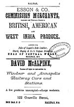 Page 3 of the MCALPINE'S HALIFAX CITY DIRECTORY FOR 1875-76, with an ad for British, American and West Indian produce from the Esson and Company Commission merchants, central wharf, Halifax