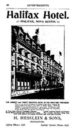 Page 20 of the MCALPINE'S HALIFAX CITY DIRECTORY FOR 1900-01, with an ad for the Halifax Hotel. The hotel features a FIRST CLASS ELECTRIC PASSENGER ELEVATOR, EVERY ROOM LIGHTED WITH INCANDESCENT LIGHTS, ... THE LARGEST CORRIDORS ... WELL LIGHTED...
