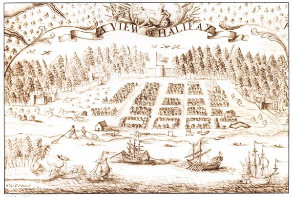 Dessin d'Halifax à l'encre sépia, vue d'en haut. On y voit la rade, la ville et la forêt environnante.