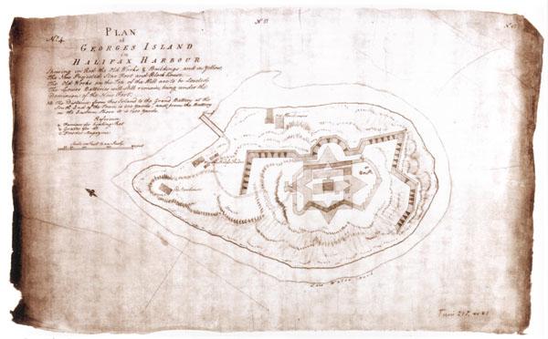 Dessin à l'encre sépia illustrant le plan d'un fort plus ou moins circulaire. En haut à gauche, on voit un bloc de texte écrit à la main.