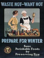 Poster from the First World War era with an illustration of an older woman standing at a table covered with vegetables and jars, encouraging a young woman to preserve foods. The caption reads WASTE NOT - WANT NOT. PREPARE FOR WINTER. SAVE PERISHABLE FOODS BY PRESERVING NOW.