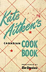 Cover of cookbook, KATE AITKEN'S CANADIAN COOK BOOK