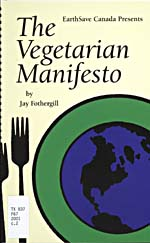 Cover of cookbook, THE VEGETARIAN MANIFESTO, featuring an illustration of a plate with a design of the Earth, with two forks beside it