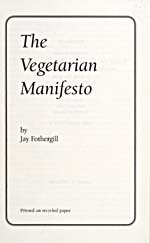 Title page of cookbook, THE VEGETARIAN MANIFESTO