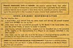 Unumbered page of ration book listing the responsibilities of ration-book holders