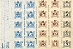Unumbered page of ration book, with numbered ration stamps