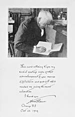 Photograph of Thomas Edison with a handwritten message, 1929