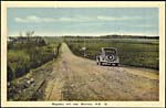 Postcard of Magnetic Hill, New Brunswick, showing a car on the hill, 1938