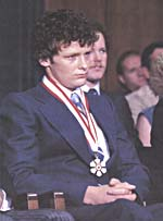 Photograph of Terry Fox wearing his Companion of the Order of Canada medal