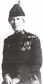 Photograph of Georgina Pope wearing the BLUEBIRD military nursing uniform of the Canadian Army Medical Corps