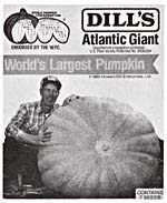 Photograph of a packet of DILL'S ATLANTIC GIANT pumpkin seeds featuring a photograph of a man crouched beside a giant pumpkin, with his hands on the pumpkin