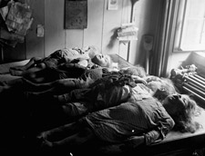 Photograph of the bodies of six children who died in the rockslide, Québec, 1889