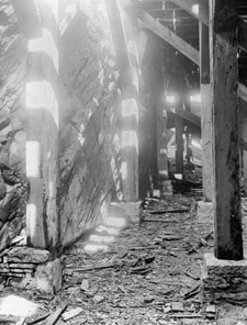 Photograph of the ruined interior of one the buildings damaged in the rockslide, Québec, 1889