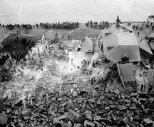 Photograph providing an aerial view of the site of the rockslide on Champlain Street, Quebec City, 1889
