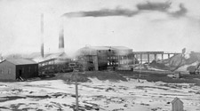 Photograph of buildings, some equipped with large smokestacks, number 3 slope, Springhill mine, Nova Scotia, 1897