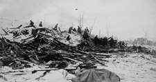 Photograph of a huge pile of debris from the explosion, Halifax, 1917