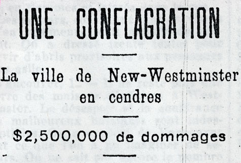 Titre de l'article : UNE CONFLAGRATION