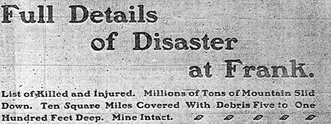 Headline reading FULL DETAILS OF DISASTER AT FRANK