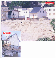 Two photographs showing a home during and after the flood, July 1996. The home remained intact