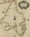 Chart entitled A CHART OF YE LAND OF NEW FOUND LAND WITH YE PARTICULAR HARBOURS AT LARGE BY JOHN THORNTON HYDROGRAPHER, 1700