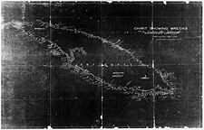 Carte intitluée CHART SHOWING WRECKS ON ANTICOSTI ISLAND FROM THE YEAR 1820 TO 1911 PREPARED BY DEPARTMENT OF MARINE AND FISHERIES, QUEBEC AGENCY, 1911