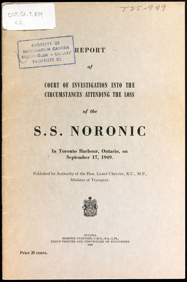 Report of Court of Investigation into the Circumstances Attending the Loss of the S.S.