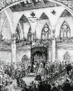 Illustration entitled OPENING OF THE DOMINION PARLIAMENT, showing the Governor General and assembly in the Senate Chamber, with inset illustrations of the East Block and the House of Commons, February 1880