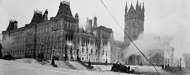 Photograph of Centre Block fire, ground-level view from west, February 4, 1916