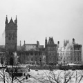 Photograph of Centre Block, with firefighters working on east wing, February 4, 1916