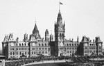 Photograph of Centre Block, with a crowd celebrating Queen Victoria's Jubilee, 1897