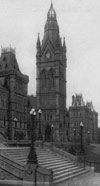 Photograph of Centre Block, showing staircase and lamp posts, 1890-1916