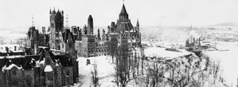 Photograph of Parliament Hill after 1916 fire, view from east