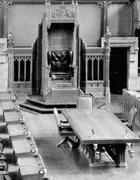 Photograph of Speaker's Chair, Clerk's table, members' seats and rear visitors' gallery, House of Commons, after 1921