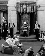 Photograph of Lord Tweedsmuir, Governor General of Canada, reading the Speech from the Throne to open Parliament, Senate Chamber, January 27, 1938